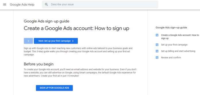Sign up Google Ads account